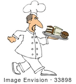 #33898 Clip Art Graphic Of A Grumpy Caucasian Male Chef In Uniform Carrying A Tray Of Cake Slices And A Cupcake