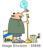 #33899 Clip Art Graphic Of A Light Loving Caucasian Man Putting An 800 Watt Lightbulb Into A Tall Floor Lamp