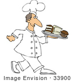 #33900 Clip Art Graphic Of A Friendly Male Caucasian Chef In Uniform Carrying A Tray Of Chocolate And Vanilla Cake And A Cupcake In A Bakery
