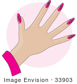 #33903 Clip Art Graphic Of A Lady Showing Off Her Manicured Fingernails With Daisy Flowers In Pink Acrylic