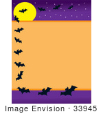 #33945 Clip Art Graphic Of Flying Vampire Bats And A Full Moon On A Halloween Background