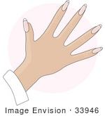 #33946 Clip Art Graphic of a Lady's Hand With Natural French Tip Acrylic Nails by Maria Bell