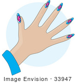 #33947 Clip Art Graphic Of A Lady'S Hand With Butterfly Decals On Blue Acrylic Nails