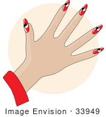 #33949 Clip Art Graphic Of A Lady'S Hand With Red Ying Yang Gel Acrylic Nails