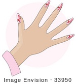 #33950 Clip Art Graphic Of A Lady'S Hand With Gel Red Hearts On Pink Gel Acrylic Nails