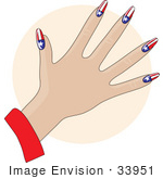 #33951 Clip Art Graphic of a Lady's Hand With Stars And Stripes Of The American Flag Gel Acrylic Nails by Maria Bell