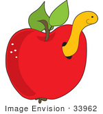 #33962 Clip Art Graphic Of A Worm Or Caterpillar Coming Out Of A Hole In A Red Apple