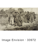 #33972 Stock Illustration Of Colonial Men, Women And Children Strolling On A Path, One Man Playing A Flute, A Maypole In The Background On May Day, Labor Day by JVPD