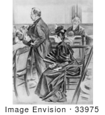 #33975 Stock Illustration Of A Scene Of Lizzie Borden And Her Counsel Ex-Governor Robinson In The Courtroom Before The Acquittal