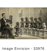 #33976 Stock Illustration Of A Man Surrounded By Dogs Sitting Up And Begging On Stools One Dog In His Hand As He Reads Them A Book