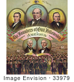 #33979 Stock Illustration Of Portraits Of John P. Entwisle, Thomas Wildey, John Welch, James Gettys, And James L. Ridgely Surrounded By A Massive Crowd, The Founders Of Odd Fellowship In America, In God We Trust by JVPD