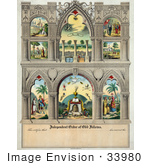 #33980 Stock Illustration Of 8 Biblical Scenes On A Certificate Of The Independent Order Of Odd Fellows