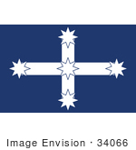 #34066 Clip Art Graphic of the Southern Cross Constellation Over Blue On The Eureka Flag Of Australia by JVPD