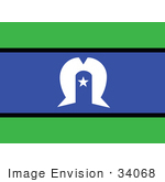 #34068 Clip Art Graphic of the White Star And Dhari And A Star On The Blue And Green The Torres Strait Islanders Australia Flag by JVPD