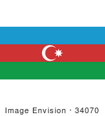 #34070 Clip Art Graphic Of The Rub El Hizb Star On The Blue Red And Green Flag Of Azerbaijan