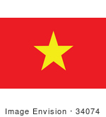 #34074 Clip Art Graphic of the Yellow Star On The Red Flag Of Vietnam by JVPD