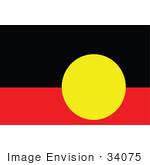 #34075 Clip Art Graphic of the Yellow Circle Over Black And Red On The Australian Aboriginal Flag by JVPD