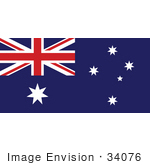 #34076 Clip Art Graphic of the The Commonwealth Star, Southern Cross Constellation, And Union Flat On The Blue Flag Of Australia by JVPD
