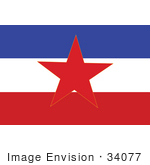 #34077 Clip Art Graphic of the Red Star On The Blue, White And Red SFR Yugoslavia Flag by JVPD