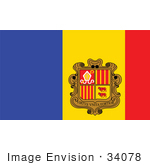 #34078 Clip Art Graphic of the Blue, Red And Yellow National Flag Of The Principality Of Andorra With With The Virtus Unita Fortior Coat Of Arms by JVPD