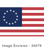 #34079 Clip Art Graphic Of The 13 White Stars Circling Over Blue In The Corner Of The Red And White Striped Betsy Ross American Flag