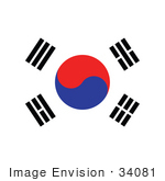 #34081 Clip Art Graphic Of The Four Black Trigrams And The Red And Blue Taegeukthe On The White Taegukgi Flag Of South Korea