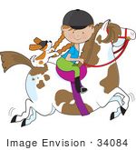 #34084 Clip Art Graphic of a Red Haired Girl Riding a Painted Brown and White Horse With Her Puppy by Maria Bell