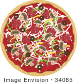 #34085 Clip Art Graphic of a Tasty Whole Supreme Pizza Topped With Cheese, Bell Peppers, Mushrooms, Olives And Pepperoni by Maria Bell