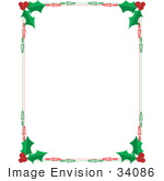 #34086 Clip Art Graphic Of A Red And Green Holly Christmas Stationery Border