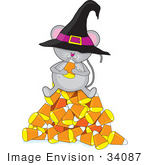 #34087 Clip Art Graphic Of A Hungry Little Halloween Mouse Sitting On A Pyramid Of Candy Corn And Wearing A Witches Hat Eating Candy