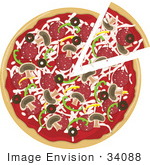 #34088 Clip Art Graphic Of A Slice Of Pizza Being Removed From A Pie With Cheeses Mushrooms Bell Peppers Olives And Pepperoni