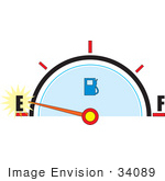 #34089 Clip Art Graphic Of A Gas Tank Gauge Warning That The Tank Is Nearly Empty