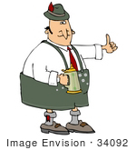 #34092 Clip Art Graphic Of A Happy Oktoberfest Dressed Man Drinking Beer From A Stein And Giving The Thumbs Up