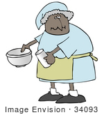#34093 Clip Art Graphic Of An African American Granny Using A Mixing Bowl To Make Pancakes For Her Family