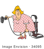 #34095 Clip Art Graphic Of A Confused Blond Lady Trying To Plug A Vacuum Into The Wrong Socket