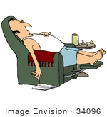 #34096 Clip Art Graphic Of A Sleeping Man With A Lit Cigarette Dropping Ashes Onto A Book On The Floor