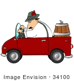 #34100 Clip Art Graphic Of An Oktoberfest Dressed Man Driving A Beer Keg To A Party In A Convertible Car