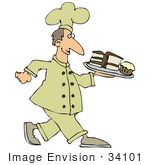 #34101 Clip Art Graphic Of A Chef With Cakes And Muffins On A Tray