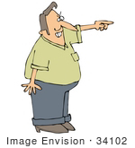 #34102 Clip Art Graphic Of A Mad Man Pointing And Screaming At Solicitors Missionaries Or Trespassers