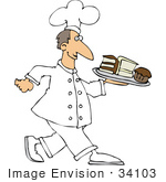 #34103 Clip Art Graphic Of A Chef Dressed In White Carrying A Tray Of Cakes And Muffins