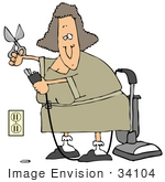 #34104 Clip Art Graphic Of A Lady Snipping Off Part Of A Vacuum Cord To Plug It Into A Socket