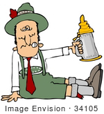 #34105 Clip Art Graphic Of A Collapsed Drunk Man At Oktoberfest Seated On The Floor And Holing Up A Stein