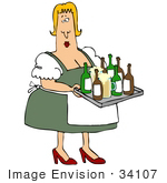 #34107 Clip Art Graphic Of An Overweight Blond Oktoberfest Lady In Heels Carrying A Tray Of Booze