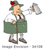 #34108 Clip Art Graphic of a Funny Senior Oktoberfest Man Holding Up A Beer Stein And Walking With A Cane by DJArt