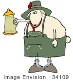 #34109 Clip Art Graphic Of An Oktoberfest Sheep Holding Up A Stein Of Beer