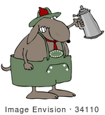 #34110 Clip Art Graphic Of An Oktoberfest Dog Getting Drunk And Holding Up A Beer Stein