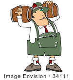 #34111 Clip Art Graphic Of An Oktoberfest Man Delivering Beer Kegs Carrying Two Wood Barrels On His Shoulders
