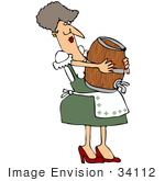 #34112 Clip Art Graphic of a Strong Oktoberfest Lady Carrying A Beer Keg On Her Belly by DJArt