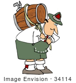 #34114 Clip Art Graphic Of A Hunched Over Oktoberfest Man Pulling On A Rope Around A Beer Keg On His Back