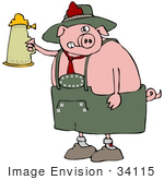 #34115 Clip Art Graphic Of A Drunk Oktoberfest Pig Holding Up A Stein Of Beer